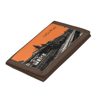 Chicago L 1950 Watercolor Sepia Photograph Subway Tri-fold Wallet