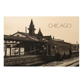 Chicago L 1950 Watercolor Sepia Photograph Subway Wood Wall Art