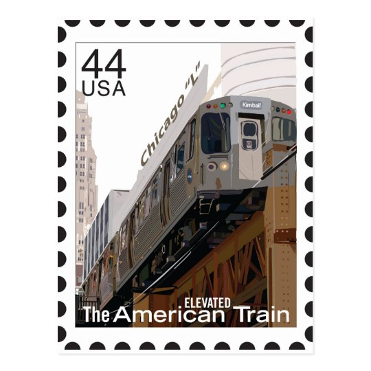 Chicago L Stamp Postcard