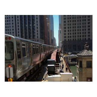 Chicago L train heading into the Loop Postcard