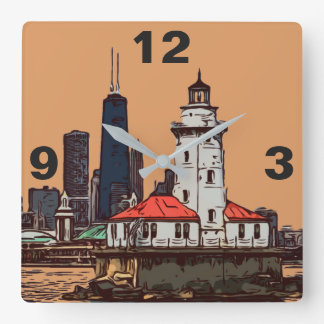 CHICAGO LIGHTHOUSE SQUARE WALL CLOCK