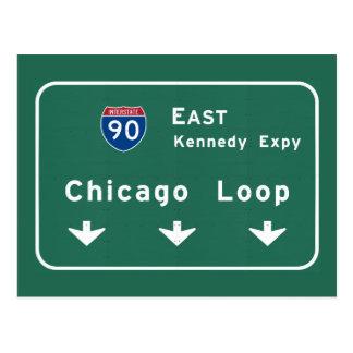 Chicago Loop I-90 E Interstate Illinois IL Postcard