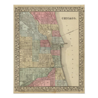 Chicago Map by Mitchell Poster