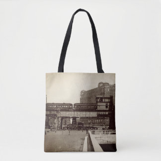 CHICAGO MERCHANDISE MART TROLLEY TRAIN WATERCOLOR TOTE BAG