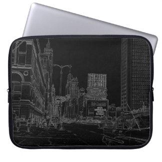 Chicago Michigan Avenue 1960's Glowing Edges Black Laptop Sleeve
