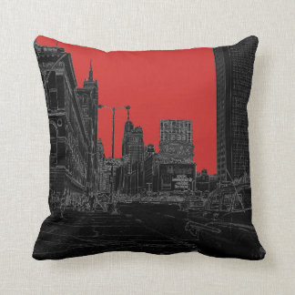 Chicago Michigan Avenue 1960's Glowing Edges Black Throw Pillow