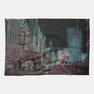 CHICAGO MICHIGAN AVENUE @ ART MUSEUM 1967 NEON KITCHEN TOWEL