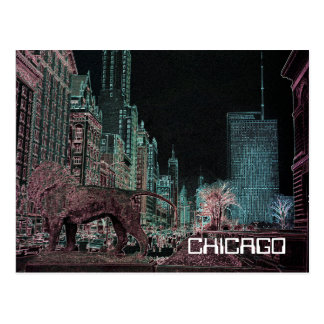 CHICAGO MICHIGAN AVENUE @ ART MUSEUM 1967 NEON POSTCARD