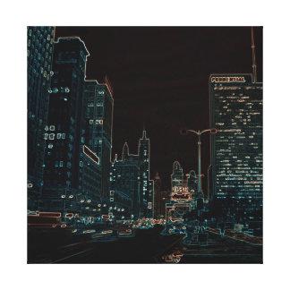 Chicago Michigan Avenue @ Night 1967 Neon Colorful Canvas Print