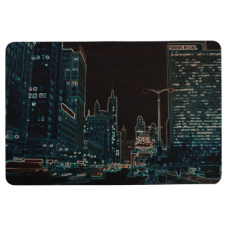 Chicago Michigan Avenue @ Night 1967 Neon Colorful Floor Mat