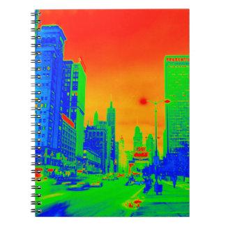 Chicago Michigan Avenue @ Night 1967 Neon Colorful Notebooks