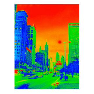 Chicago Michigan Avenue @ Night 1967 Neon Colorful Postcard