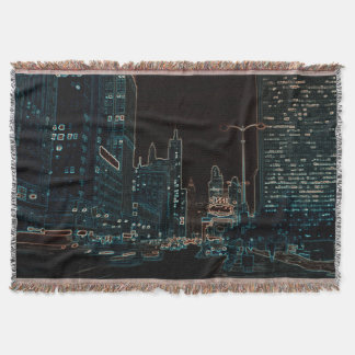 Chicago Michigan Avenue @ Night 1967 Neon Colorful Throw Blanket