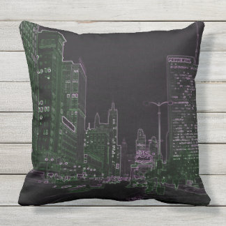 Chicago Michigan Avenue @ Night 1967 Neon Colorful Throw Pillow