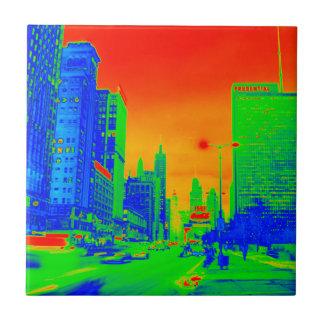 Chicago Michigan Avenue @ Night 1967 Neon Colorful Tile