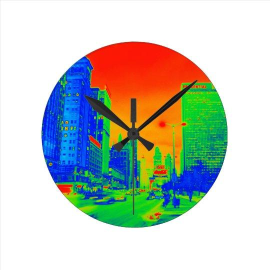 Chicago Michigan Avenue @ Night 1967 Neon Round Clock