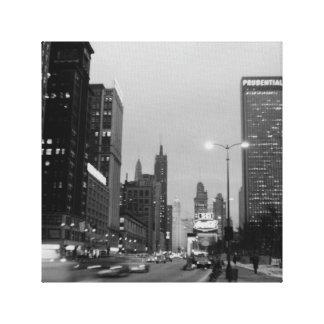 Chicago Michigan Avenue @ Night March 6, 1967 Canvas Print