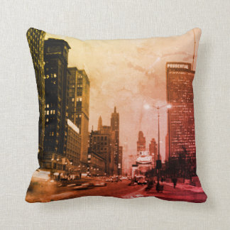 Chicago Michigan Avenue @ Night March 6, 1967 Throw Pillow