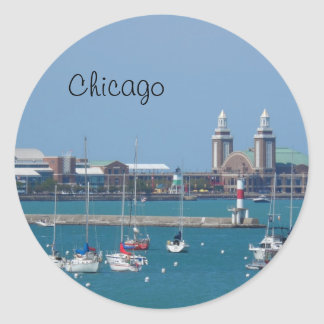 Chicago Navy Pier Classic Round Sticker