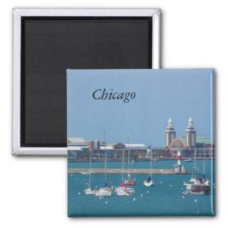 Chicago Navy Pier Square Magnet