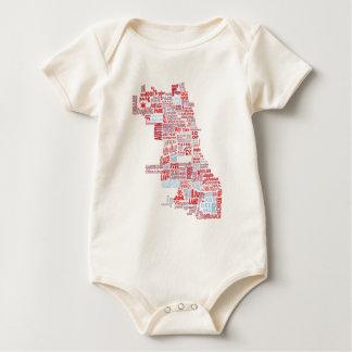Chicago Neighborhood Map Baby Bodysuit