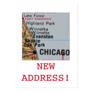 Chicago New Address announcement Postcard