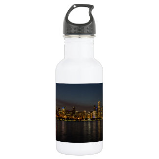 Chicago Night Cityscape 532 Ml Water Bottle