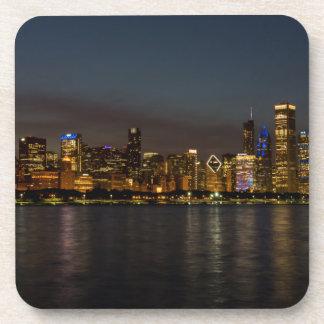 Chicago Night Cityscape Coaster