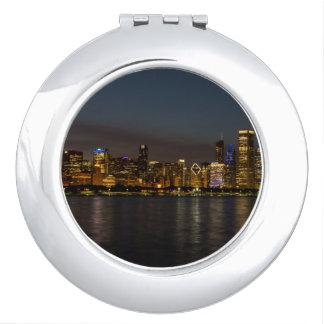 Chicago Night Cityscape Compact Mirror