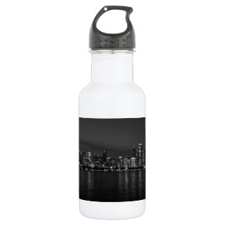 Chicago Night Cityscape Grayscale 532 Ml Water Bottle