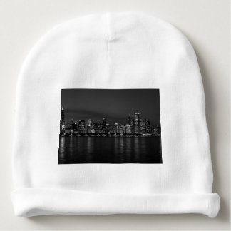 Chicago Night Cityscape Grayscale Baby Beanie