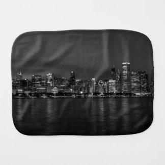 Chicago Night Cityscape Grayscale Burp Cloth