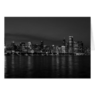 Chicago Night Cityscape Grayscale Card