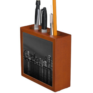 Chicago Night Cityscape Grayscale Desk Organizer
