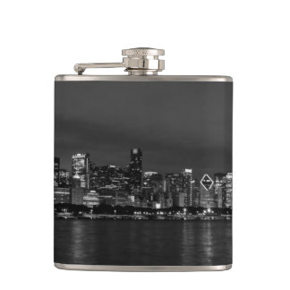 Chicago Night Cityscape Grayscale Hip Flask