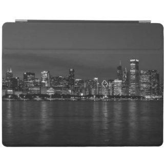 Chicago Night Cityscape Grayscale iPad Cover