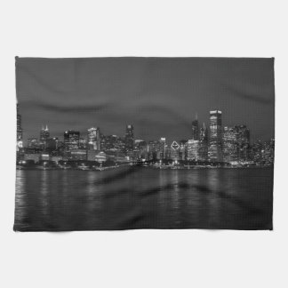 Chicago Night Cityscape Grayscale Kitchen Towel