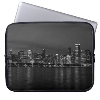 Chicago Night Cityscape Grayscale Laptop Sleeve