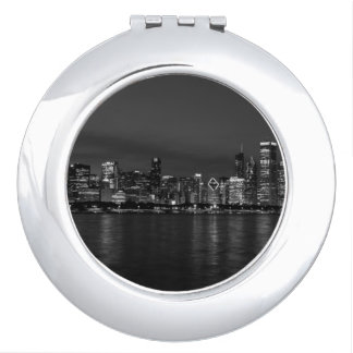 Chicago Night Cityscape Grayscale Makeup Mirrors