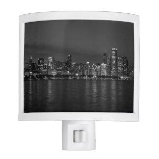 Chicago Night Cityscape Grayscale Nite Lites