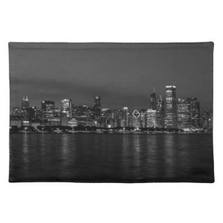 Chicago Night Cityscape Grayscale Placemat