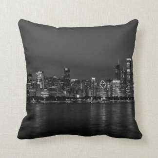 Chicago Night Cityscape Grayscale Throw Pillow