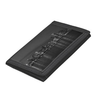 Chicago Night Cityscape Grayscale Tri-fold Wallets