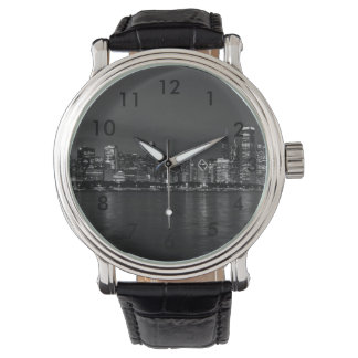 Chicago Night Cityscape Grayscale Watch