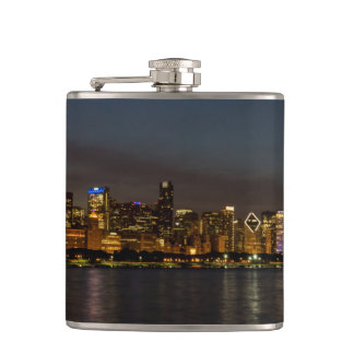 Chicago Night Cityscape Hip Flask