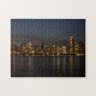 Chicago Night Cityscape Jigsaw Puzzle