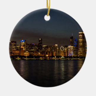 Chicago Night Cityscape Round Ceramic Ornament