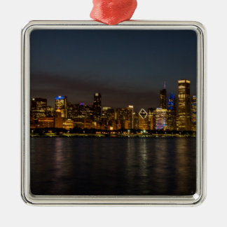 Chicago Night Cityscape Silver-Colored Square Ornament