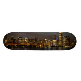 Chicago Night Cityscape Skateboards