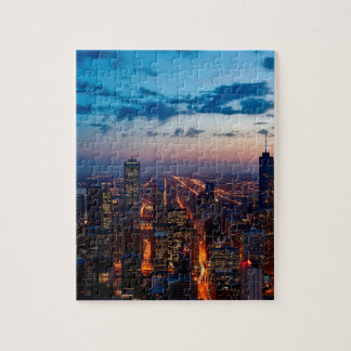 Chicago Night Skyline Jigsaw Puzzle